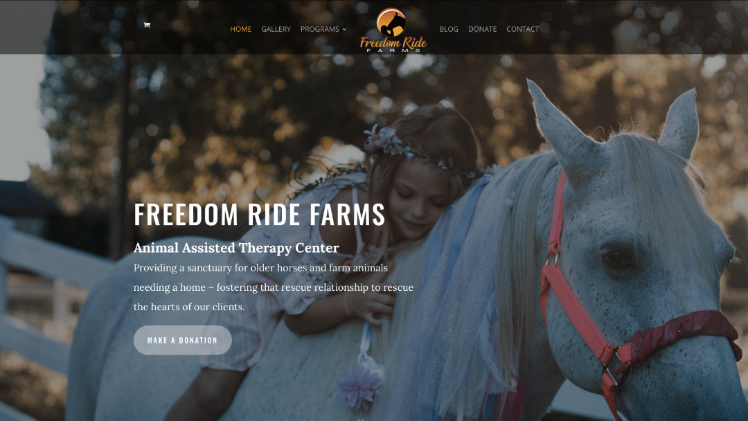 Home Page of the Freedom Ride Farms website project