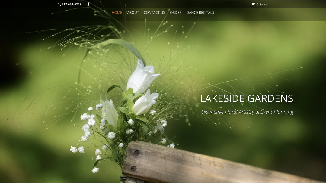 Home Page of the Lakeside Gardens website project