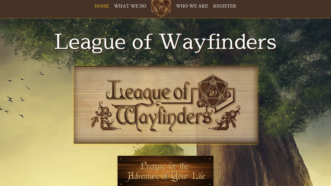 Home page for the League of Wayfinders website project