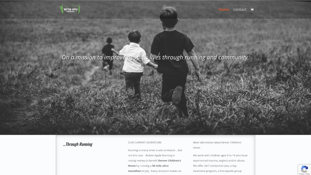 Home Page of the Rotten Apple Running website project